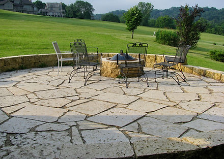 Galena sawed flagstone patio / firepit