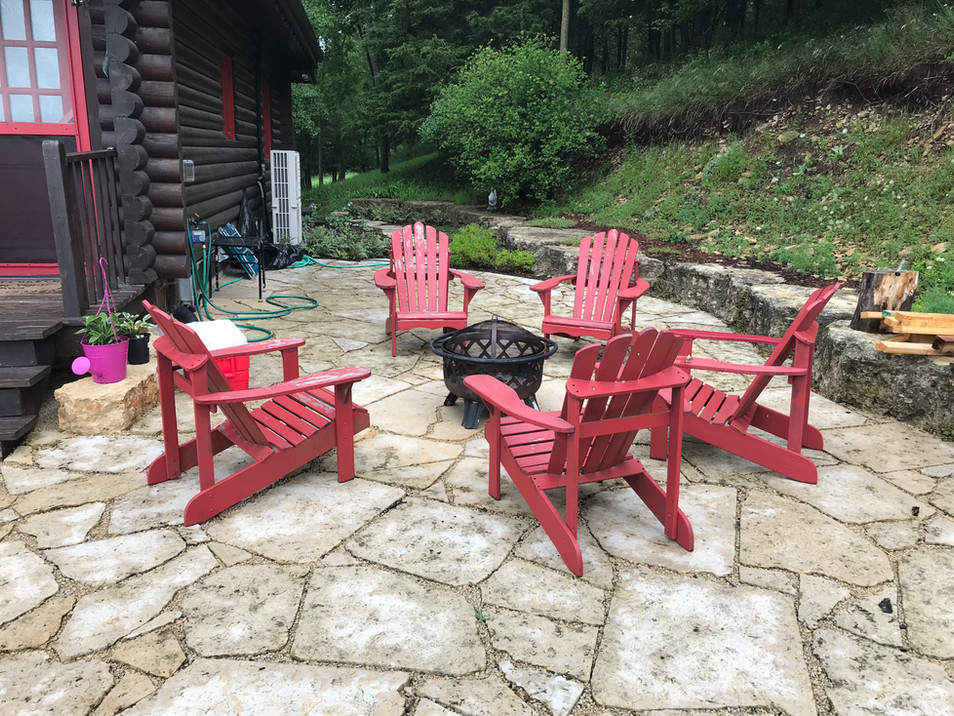 Galena sawed flagstone (with firepit supplied by owner)