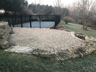 Brick pavers with fireppit (pool deck)