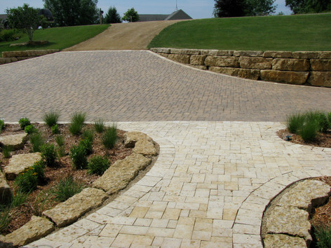 Brick pavers with Galena stone pavers in foreground (driveway)