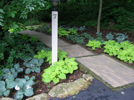 Brick steps with wood beam border