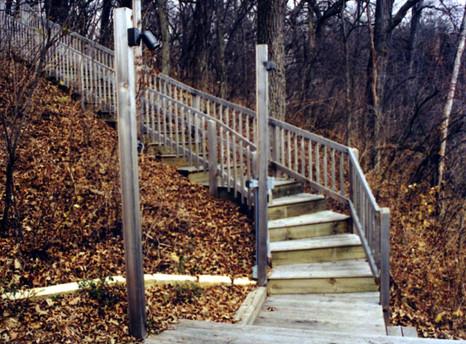 Wood (treated) decking board steps