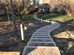 Brick paver steps with wood beam border (same walkway at completion)