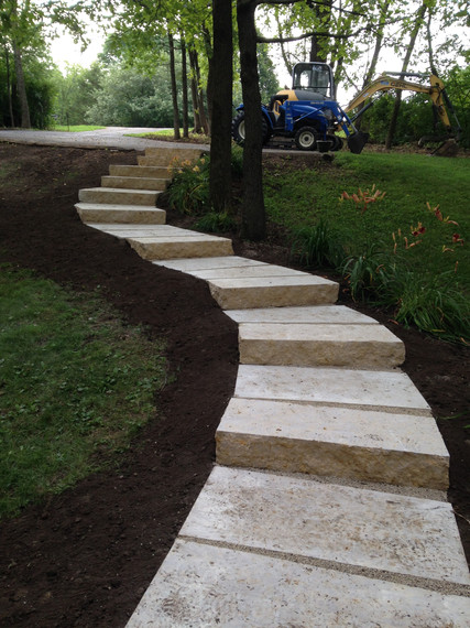 sawed steps & flagstone