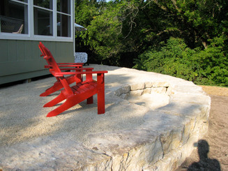 Chip stone patio with firepit