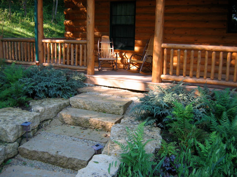 sawed steps with flagstone
