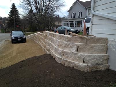 split stone wall