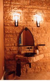 Blonde split with quarry stone sink