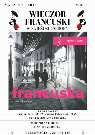 WIECZÓR FRANCUSKI W ZAJEŹDZIE SEBORY 9.03.2018