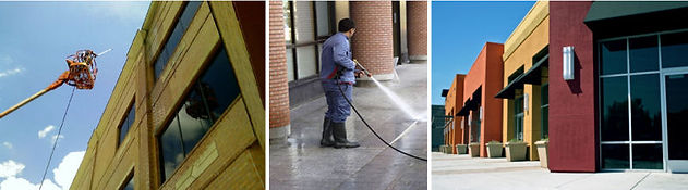 boom lift pressure washing sidewalks commercial storefronts