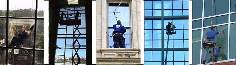 high rise window cleaning with short poles squeegees sissor lift rappelling and boom lift