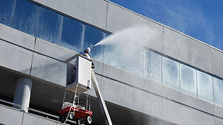 commercial pressure washing with boom lift