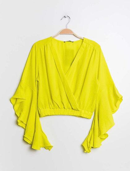 Yellow flare sleeve top