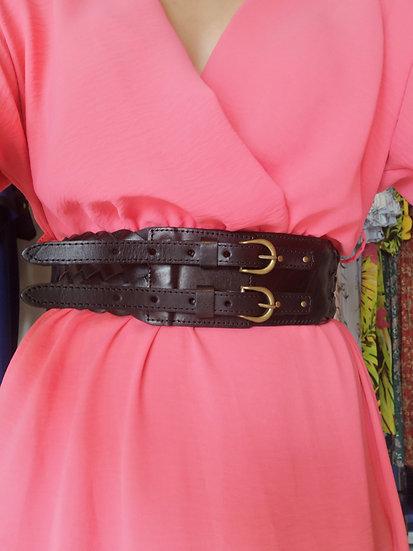 Plaited leather belt