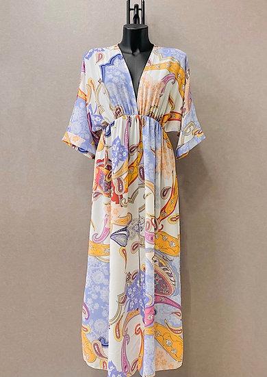 Mustard print kimono maxi