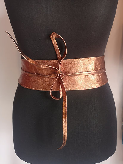 Italian leather obi belt