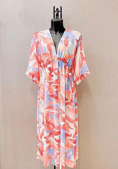 Coral print kimono maxi