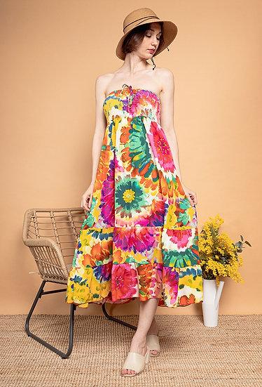 Flower print strapless dress/skirt