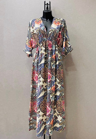 Multicolour kimono maxi