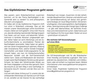 Das GiP im Rickenbacher. Lesen Sie, wie es nach dem GiP Ende im Juli weitergeht und was wir bis dahin noch geplant haben...