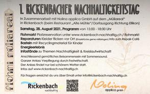 Was bleibt vom GiP in Rickenbach und wie geht es weiter? Der erste Rickenbacher Nachhaltigkeitstag, der während unserer Workshops initiiert wurde, wird bald schon Realität. Kommen Sie vorbei und lassen Sie sich von vielen Projektideen inspirieren.
