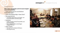 Die Erfolgsfaktoren des Energietal Toggenburg Verbands inspirieren uns, auch in Rickenbach Mut zu haben, einen Power-Start zu planen und mit stetem Tropfen an den Projekt-Ideen dranzubleiben.