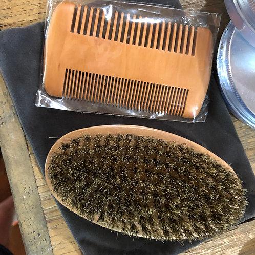 Beard brush and comb