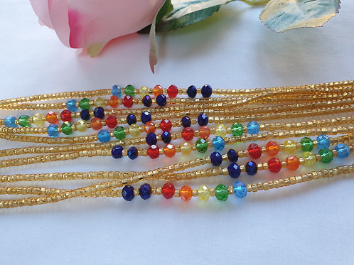 Gold with Multi coloured Crystals