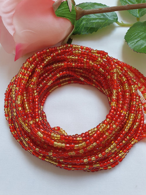 Red and Clear Gold waist beads