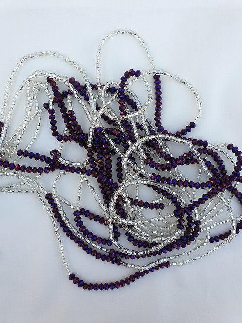 Purple & Silver Crystal Waist Beads