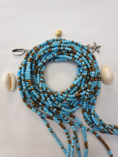 Turquoise & Gold Waist Beads