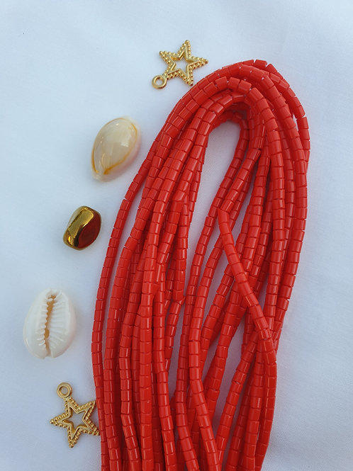 Red Tube Beads