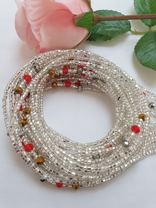 Silver Waist Beads with a pop of Red and Gold