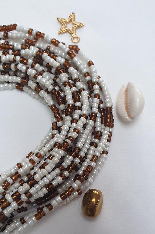 Bronze & White Waist Beads