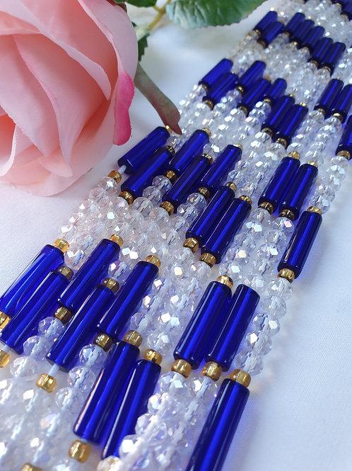 Blue & Clear Crystal Waist Beads