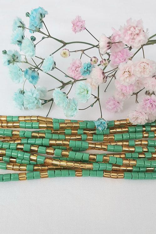 Green & Gold Czech Beads