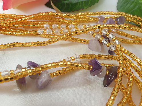 Gold and Amethyst Waist Beads