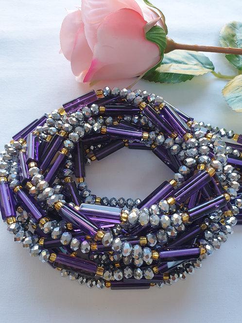 Purple & Pewter Crystal Waist Beads