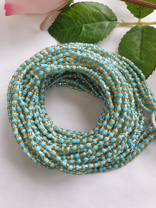Blue and Bright Gold waist beads