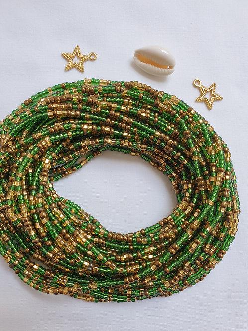 Green and Gold waist beads