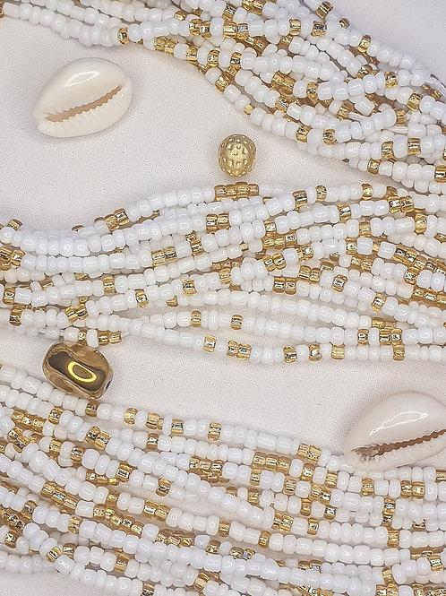 White & Gold Waist Beads
