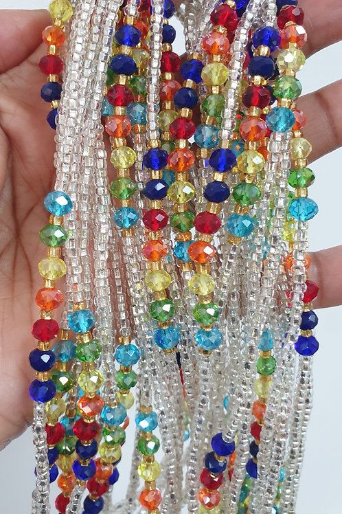 Silver With Multi Coloured Crystals
