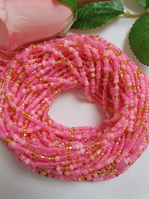 Baby Pink & Gold Waist Beads