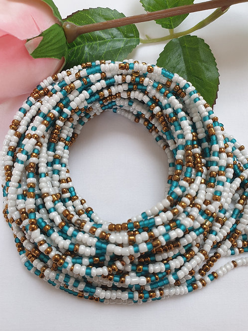Ivory, Blue and Gold waist beads