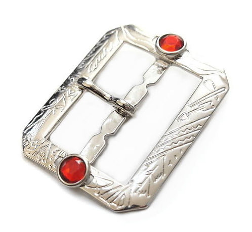 42mm Indian Pattern Octagon Buckle [ Nickel - Single & Double prong ] Smoky Sumi's Store