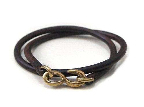 SasoRi Old Valley Tokyo Leather Bracelet [ Dark brown x Brass ]