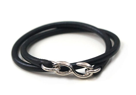SasoRi Old Valley Tokyo Leather Bracelet [ Black x Nickel ]