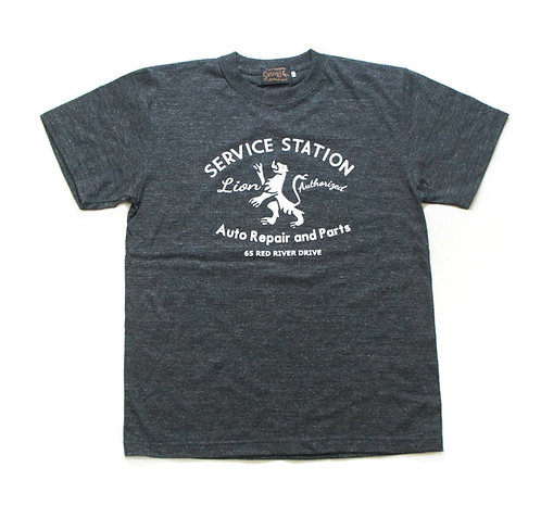 "SasoRi Old Valley Tokyo ""Lion Service Station"" T Shirt / Heather Black"