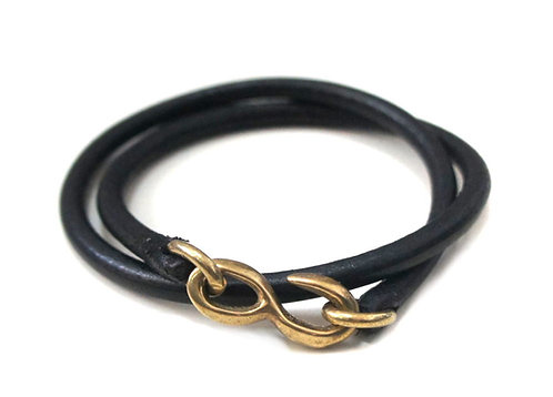 SasoRi Old Valley Tokyo Leather Bracelet [ Black x Brass ]