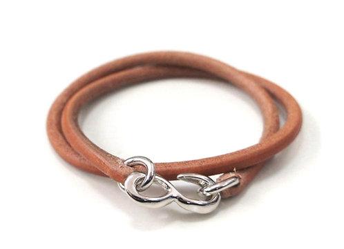SasoRi Leather Bracelet [ Tan x Nickel ]